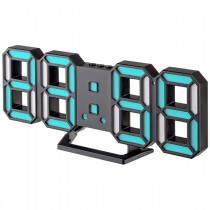 """Часы с будильником Perfeo """"LUMINOUS 2"""", LED, чёрный корпус / синяя подсветка (PF-6111)"""