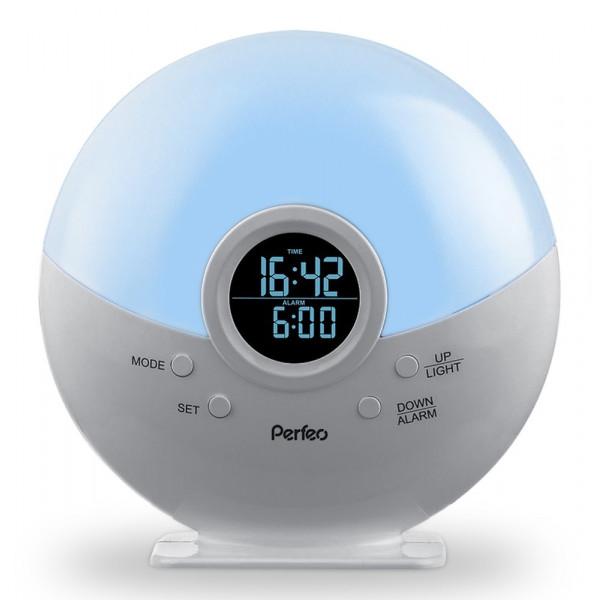 Радиочасы-будильник Perfeo Night, ночник, серебряный (PF-S523G)