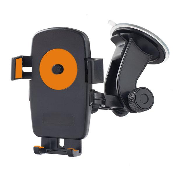 "Perfeo-502 чёрный+оранж. Держатель для смартфона/навигатора/ до 5""/ на стекло/ One touch"