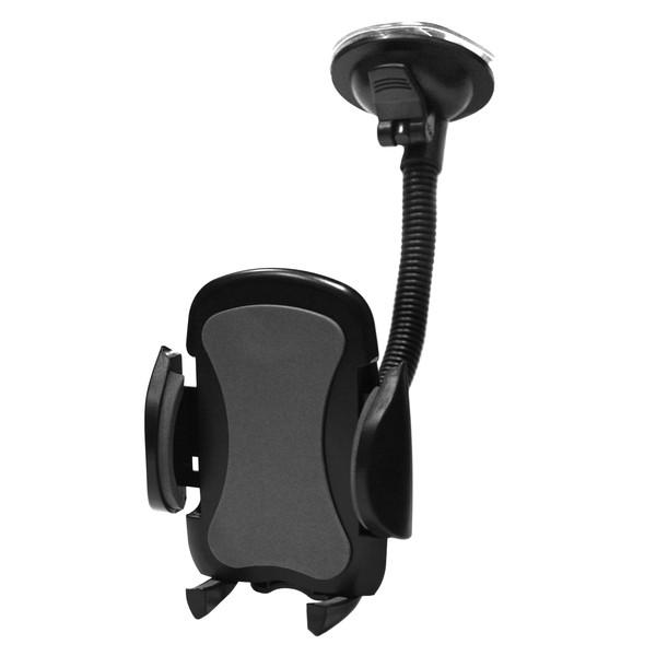 """Perfeo-517 чёрный+серый Держатель для смартфона  до 6,5""""/ на стекло/гибкая штанга"""