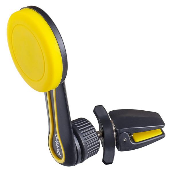 """Perfeo-532 черный+желтый  Держатель для смартфона до 6,5""""/ на воздуховод/ магнитный/ поворотный"""