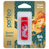 Флешка USB 64GB 2.0 Perfeo C04 Red Phoenix