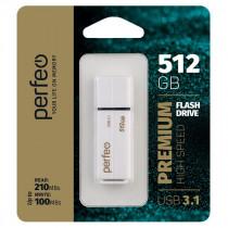 Флешка USB   512GB 3.1 Perfeo C15 High Speed White