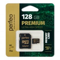 Карта памяти 128GB micro SDXC class 10  UHS-1 V30 Perfeo с адаптером
