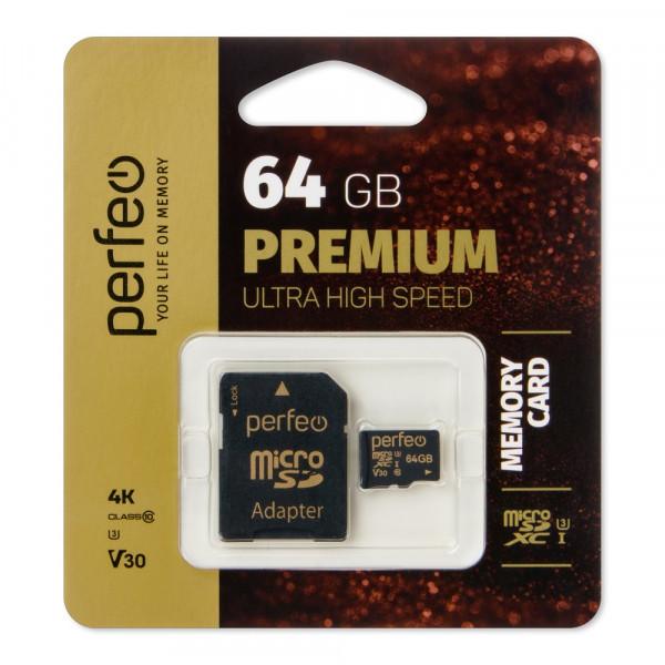 Карта памяти  64GB micro SDXC class 10  UHS-1 V30 Perfeo с адаптером