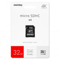 Карта памяти  32GB microSDHC class 10 SmartBuy PRO U3 R/W:95/60 MB/s с адаптером SD