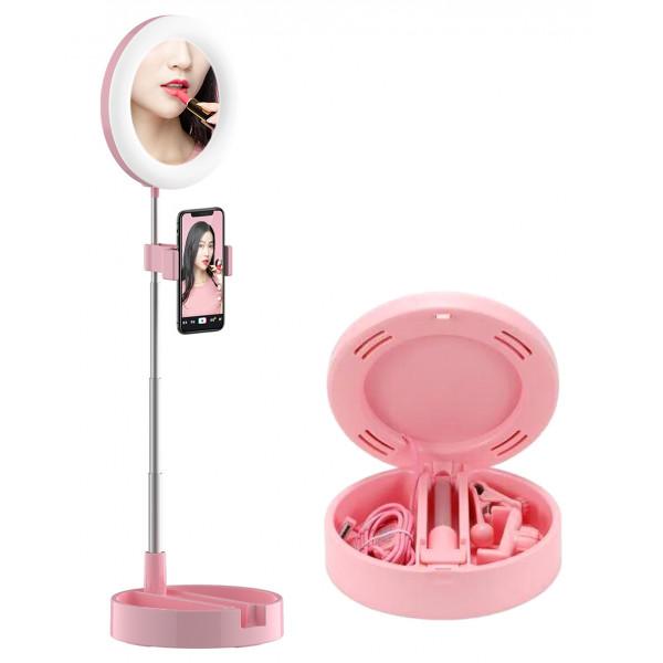 Зеркало для макияжа D1, LED подсветка, 3 цвета, складное, держатель для телефона, розовое