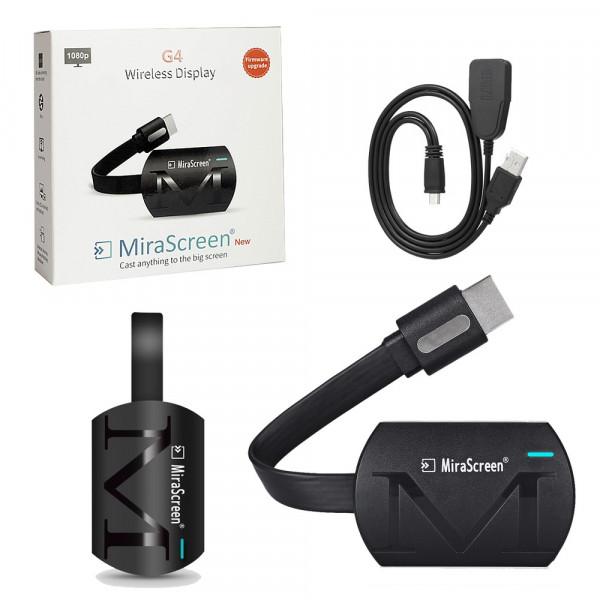 Медиа-ресивер MiraScreen G4 беспроводной HDMI - Wi-Fi (Miracast/AirPlay), чёрный