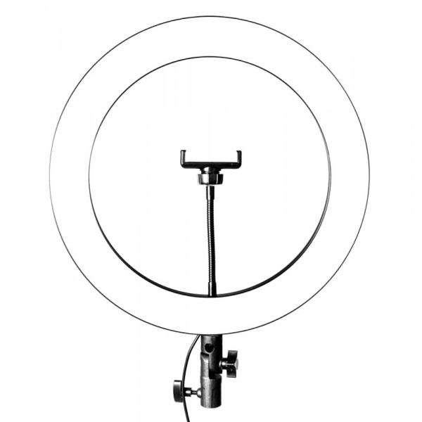Кольцевая LED-лампа J-360 d=36 см, 3 цвета (бел, тёпл., жёлт.), держатель д/телефона