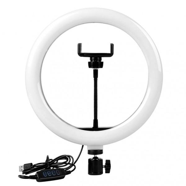 Кольцевая LED-лампа S31 d=31 см, 3 цвета (бел, тёпл., жёлт.), держатель д/телефона