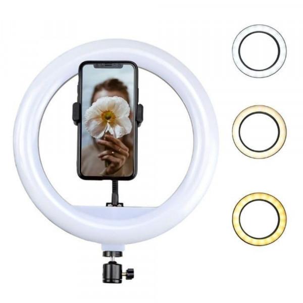 Кольцевая LED-лампа YQ-320A d=30 см, 3 цвета (бел, тёпл., жёлт.), держатель д/телефона, пульт