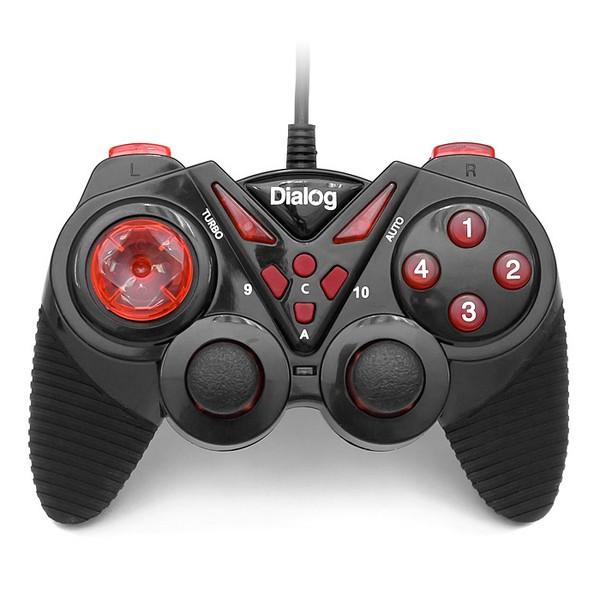 Геймпад проводной GP-A13 DIalog Action - вибрация, 12кнопок, USB, чёрно-красный