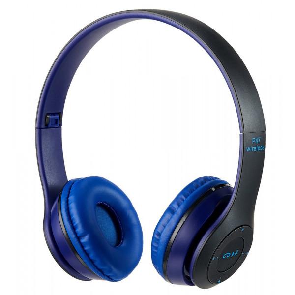 Bluetooth гарнитура (стерео) P47, накладная, синий