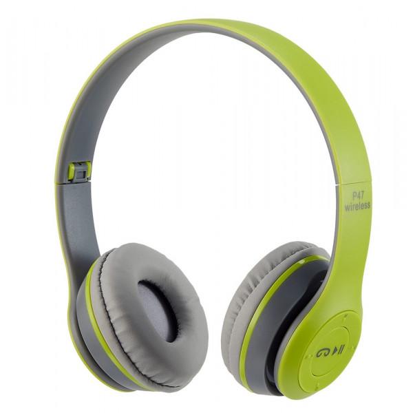 Bluetooth гарнитура (стерео) P47, накладная, зелёный
