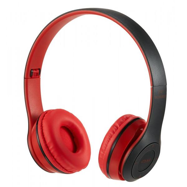 Bluetooth гарнитура (стерео) P47, накладная, красный