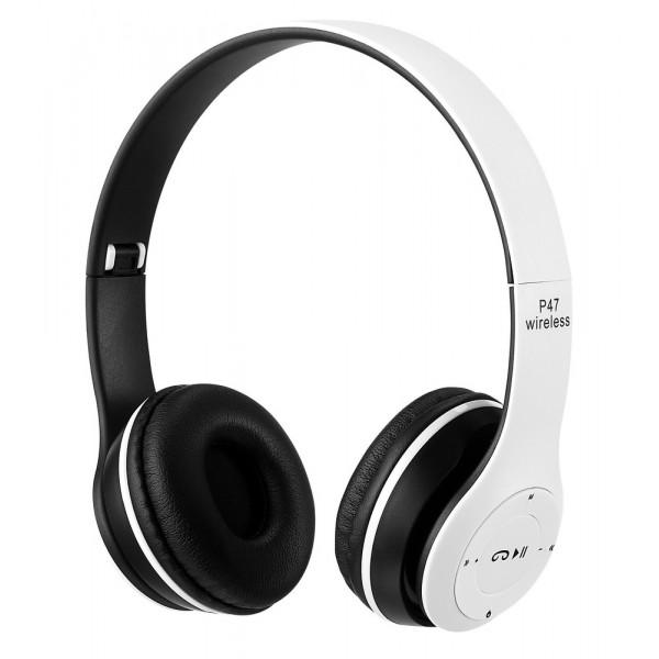 Bluetooth гарнитура (стерео) P47, накладная, белый