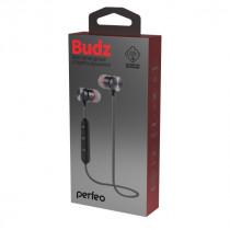 Bluetooth гарнитура (стерео)  шейный шнурок, Perfeo BUDZ внутриканальная, с микрофоном, чёрный