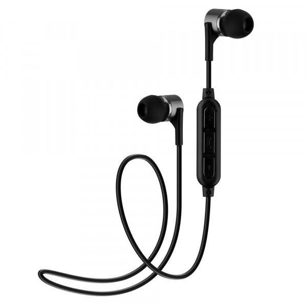 Bluetooth гарнитура (стерео)  шейный шнурок, Perfeo YO внутриканальная, с микрофоном, чёрный