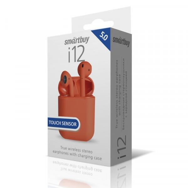 Bluetooth гарнитура (стерео)  TWS Smartbuy SBH-3012 i12, BT 5.0, Touch Sensor, красный