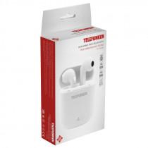 Bluetooth гарнитура (стерео)  TWS Telefunken TF-1000B с док.станцией, белый