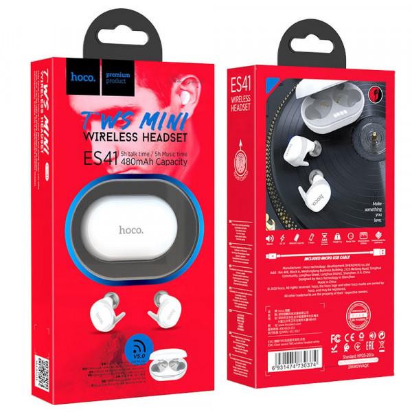 Bluetooth гарнитура (стерео)  TWS Hoco ES41, с док.станцией, белый