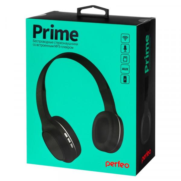 Bluetooth гарнитура (стерео) Perfeo PRIME полноразмерная, с микрофоном, MP3-плеер, чёрный