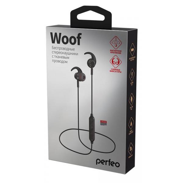 Bluetooth гарнитура (стерео)  шейный шнурок, Perfeo WOOF внутриканальная, с микрофоном, поддержка TF, чёрный