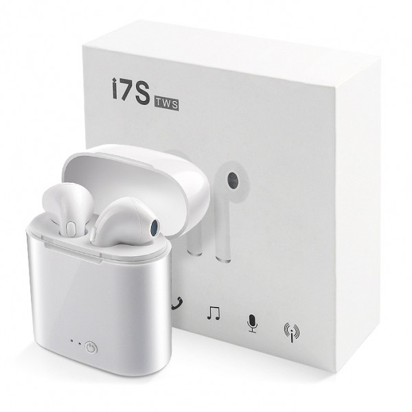 Bluetooth гарнитура (стерео)  TWS i7S, белый
