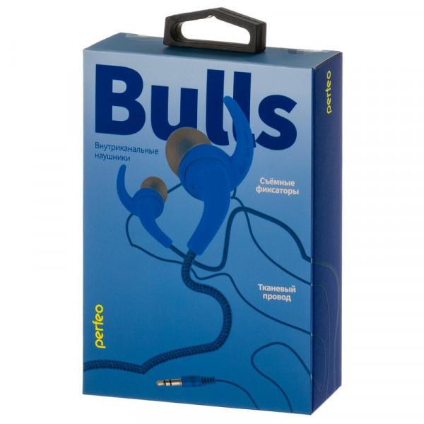 Наушники Perfeo BULLS внутриканальные, тканевый провод синие (30)