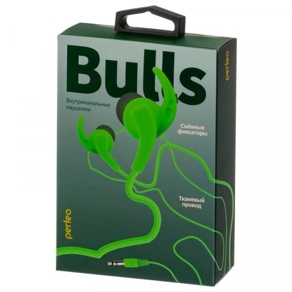 Наушники Perfeo BULLS внутриканальные, тканевый провод зелёные (30)