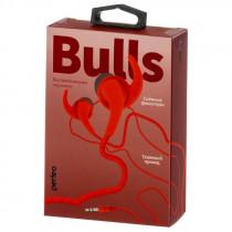 Наушники Perfeo BULLS внутриканальные, тканевый провод красные (30)
