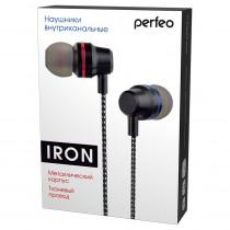 Наушники Perfeo IRON внутриканальные, металлические, тканевый провод, чёрные