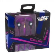 SBE-3030 Внутриканальные наушники Smartbuy Color Beat, металл.корпус, сменные насадки, фиолетовые