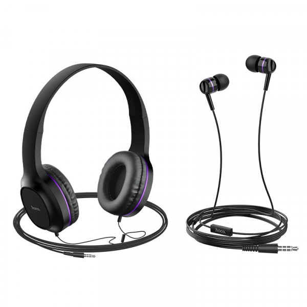 Гарнитура полноразмерная + внутриканальная Hoco W24 Enlighten, чёрно-фиолетовая