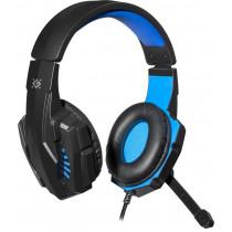 Гарнитура полноразмерная игровая Defender Warhead G-390, кабель 1,8 м, чёрный+синий