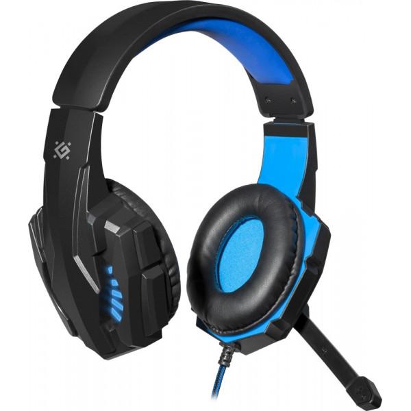 Гарнитура полноразмерная игровая Defender Warhead G-390 LED, кабель 1,8 м, чёрный+синий