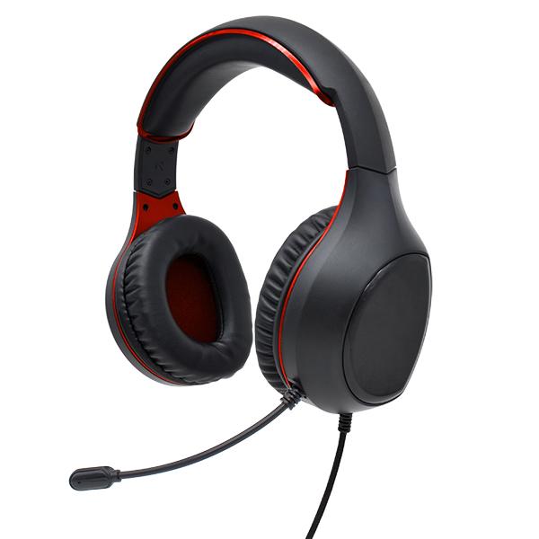 Гарнитура полноразмерная игровая Perfeo ACTION, разъёмы 2x3.5 мм (3 pin), кабель 1,8м, чёрно-красный