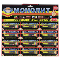Клей секундный AVIORA-МОНОЛИТ Гель, 3 г, на листе, 12шт. /288