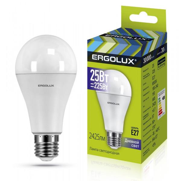 Лампа светодиодная A65 E27 25W 6500K ЛОН Ergolux