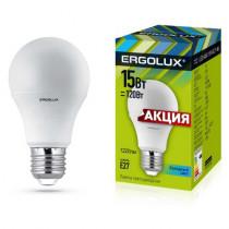 Лампа светодиодная A60 E27 15W 4500K Ergolux
