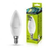 Лампа светодиодная C35 E14 11W 6500K (cвеча) Ergolux