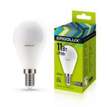 Лампа светодиодная G45 E14 11W 6500K (шар) Ergolux