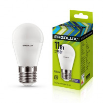 Лампа светодиодная G45 E27 11W 6500K (шар) Ergolux