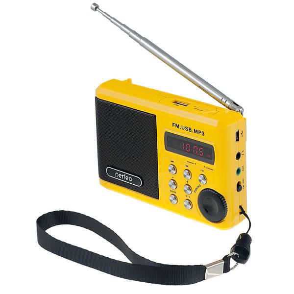 PF-SV922YL Perfeo мини-аудио Sound Ranger, УКВ+FM, MP3 (USB/microSD), AUX, BL-5C 1000 мАч, желтый