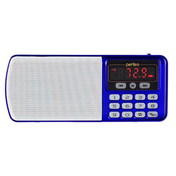 i120-BL Perfeo мини-аудио ЕГЕРЬ FM+ (70-108МГц), MP3, USB, синий