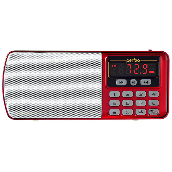 i120-RED Perfeo мини-аудио ЕГЕРЬ FM+ (70-108МГц), MP3, USB, красный