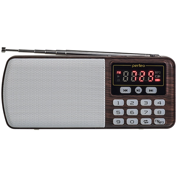 i120-BK Perfeo мини-аудио ЕГЕРЬ FM+ (70-108МГц), MP3, USB, коричневый
