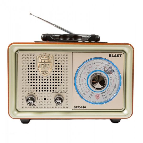 Радиоприемник BLAST BPR-610, FM (87-108МГц), AM (522-1620КГц), SW (5.9-18МГц), USB/TF/AUX, золото