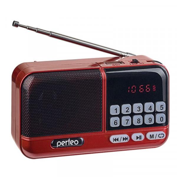 i20-RED Perfeo мини-аудио ASPEN FM+ (87.5-108МГц), MP3, USB, красный