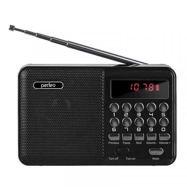 i90-BL Perfeo мини-аудио PALM FM+ (87.5-108МГц), MP3, USB, чёрный